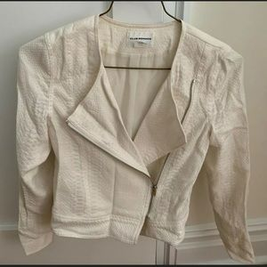 Club Monaco White Snakeskin Zip Up Jacket Size XS